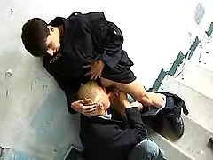 Policeman makes guy to suck his rod