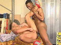 Black stud dominating white asshole on warehouse