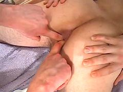 Dude gets his tight asshole fingered and pumped