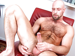 Curly daddy wanks his stick pending this dude cums all over furry body