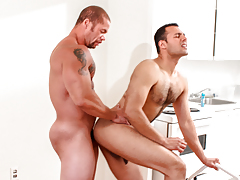 Matt eats out AJ's moist booty before AJ begs Matt to fuck him