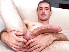 horny beefy dude with body hair masturbates his huge cock