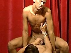 Nasty oversexed boys selflessly fuck on the stage