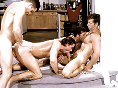 These four randy studs plow up each other attracted to a raunchy frenzy.