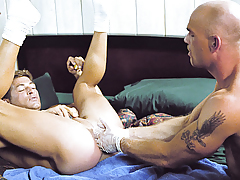 Scott Lays On His Back To Let Lance Fist Him Deep As This chab Can!