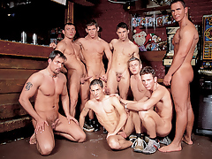 Mega hot hunks in a group orgy fuck fest happens in a cane