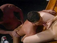 Moist stud fondles his jock whereas he watches a horny Threesome !