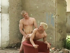Naughty fairy-haired guys taking in and astonishingly bareback outdoor in 4 video