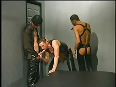 Leather clothes men having gay guy love making activity in 1 movie scene