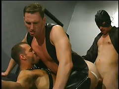 Leather clad men having gay love making act in 5 motion picture