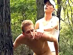 Curious boys try anal sex in forest