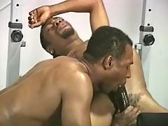 Black gay slut serving hungry hunk