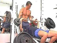 Three cute gays have fun in gym