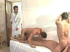 Cute twinks greedily suck big cock of doctor