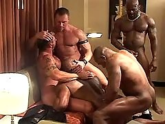 Five mature gays suck cocks and fuck in orgy