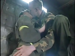 Horny gay twinks kiss in cellar