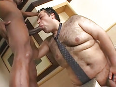 Bear gay greedily sucks ebony dick
