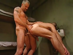 Horny mature prisoner drills poor guy
