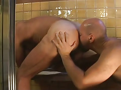Bear gay serves mature hairy asshole in shower