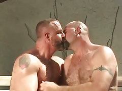 Mature bear gays kiss outdoor