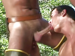Horny gay man sucks cock in nature