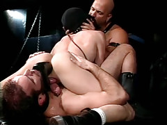 Hairy gay men dildofucks poor guy in fetish orgy