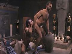 Hairy gay licked by muscle Arabian boyfriend in pyramid