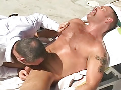 Mature man throats cock of bear gay by pool