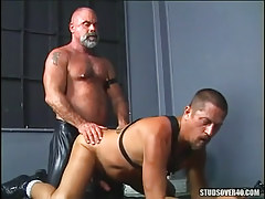 Mature hairy gay gets hard anal behind on floor