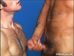 Bear man cums on hairy gay