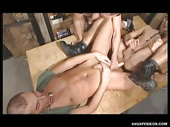 Naughty gays share long dildo