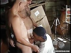 Interracial gays suck in orgy