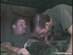 Military man sucks his hairy friend
