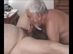 Silver dad greedily sucks cock