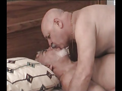 Fat silver gays kissing in bed