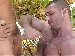 Bear gay man gets cum in forest