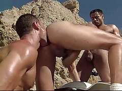Gay hunk sucks cock and licked by boyfriend in desert