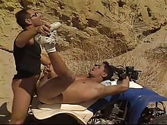 Amateur guy gets his first anal in desert