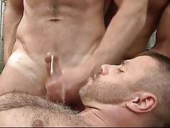 Dirty gay gets a portion of cum on his hairy chest