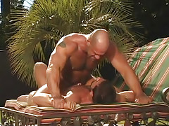 Hairy gay man crazy jumps on cock in nature