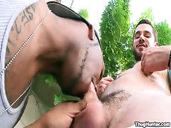 Bear gay sucked by ebony stud outdoor