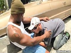 Black gay sucked by car