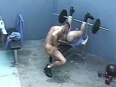 Rough beefy studs do crazy oral job in prison gym